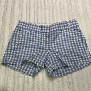 J Crew Gingham Stretch Short Shorts